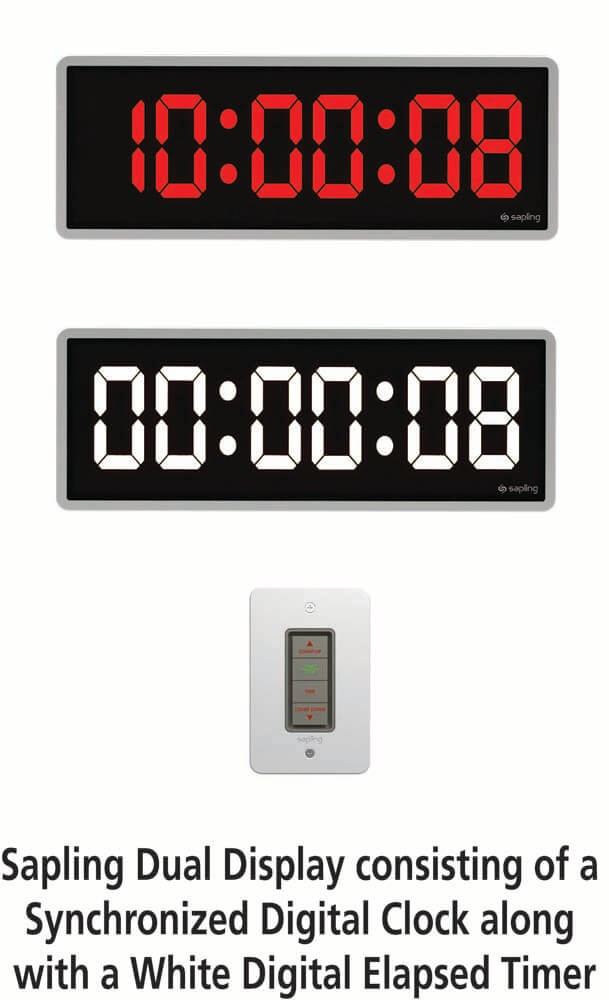 Sapling Dual Display with White Digital Elapsed Timer and Digital Clock