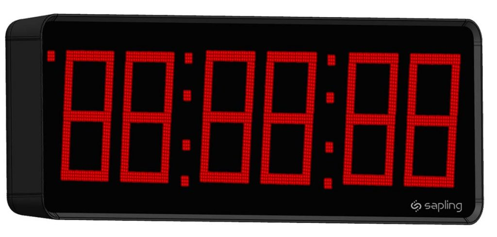 Sapling 12 inch Large Digital Clock 6 Digits with a Red Display Angled View