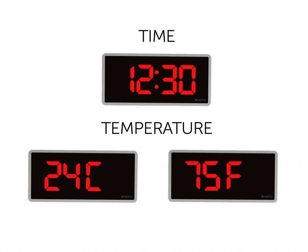 Sapling 404 Wall Mount Red Time and Temperature Display