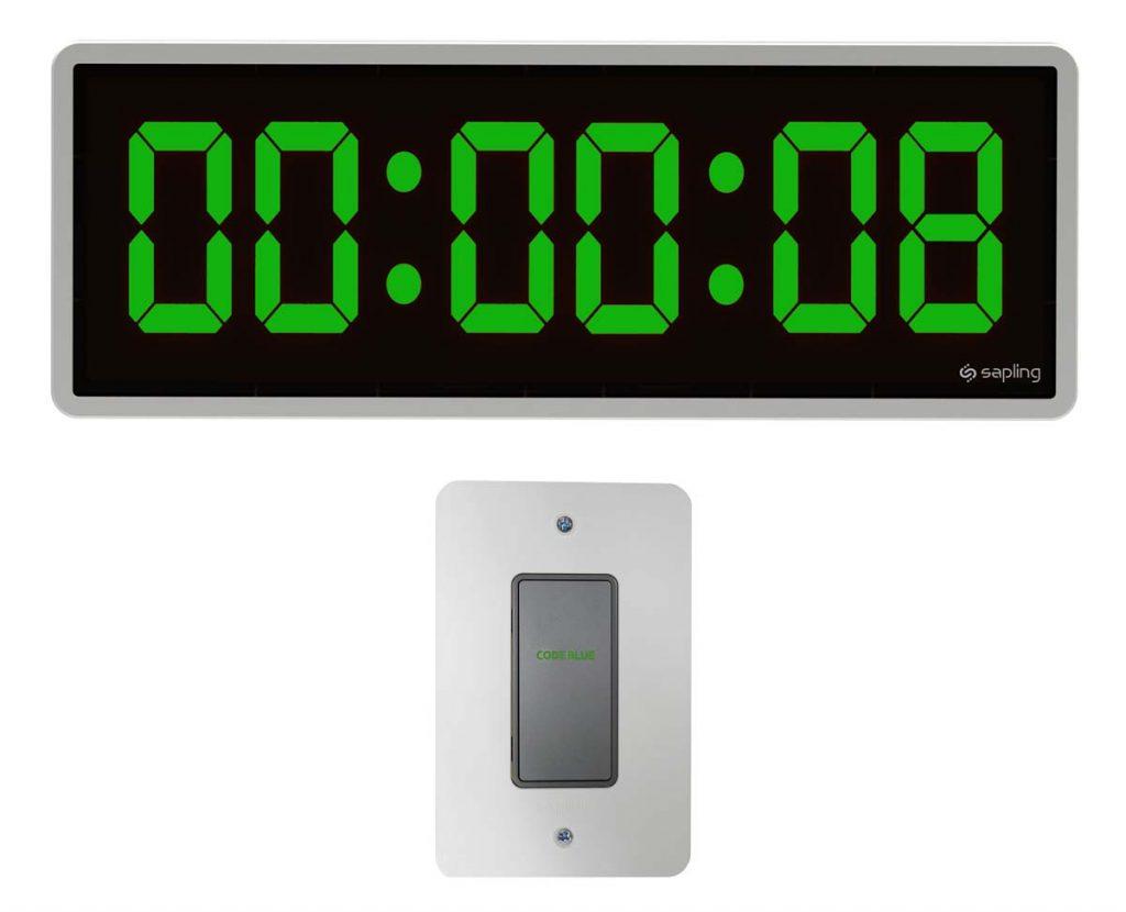 Sapling 6 Digit Digital Clock Green Countdown with Elapsed Timer