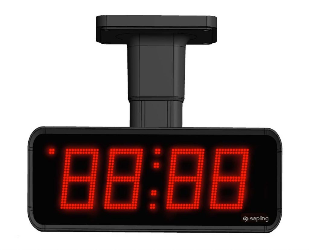 Sapling Large Digital Clock 4 Digits with a Red Display Flag Mount