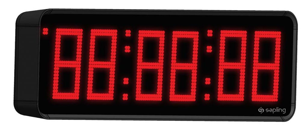 Sapling Large Digital Clock 6 Digits with a Red Display Angled View