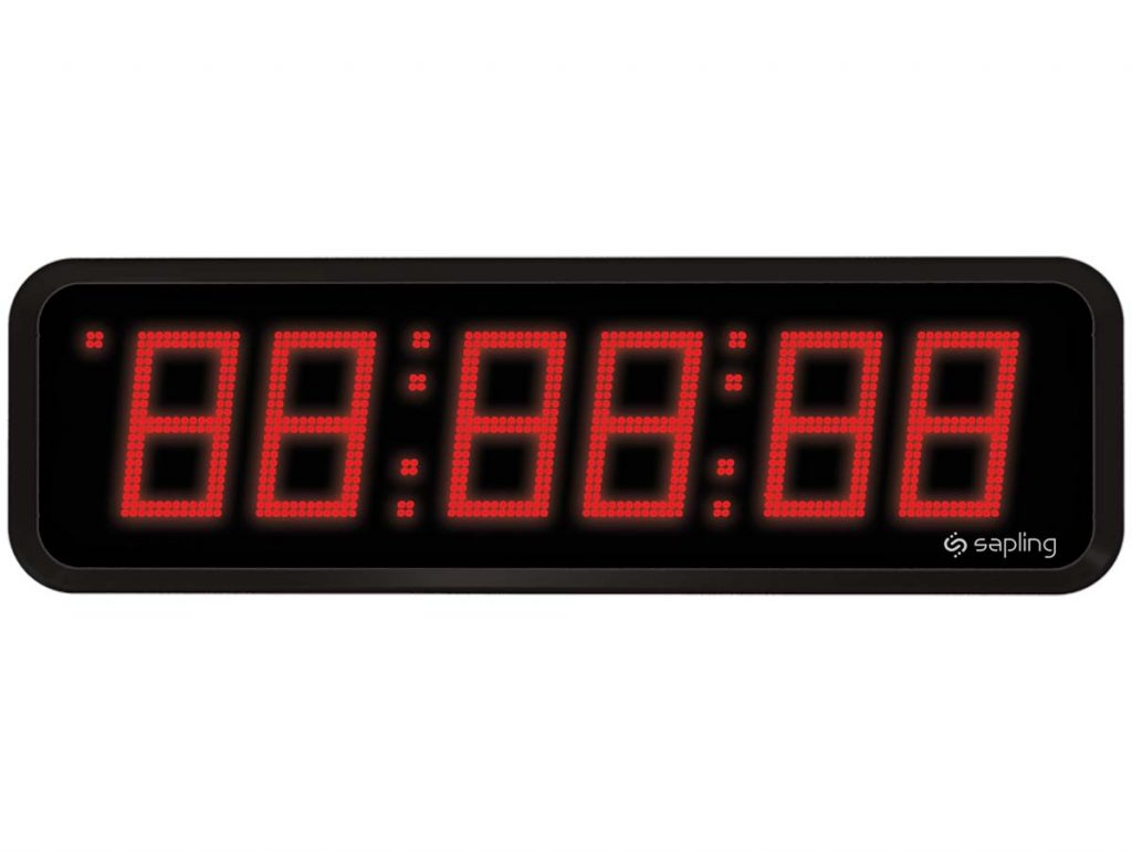 Sapling Large Digital Clock 6 Digits with a Red Display Front View