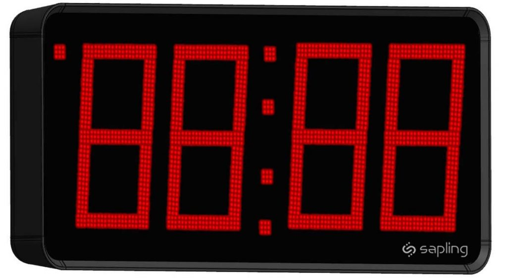 Sapling 12 inch Large Digital Clock 4 Digits with a Red Display Angled View