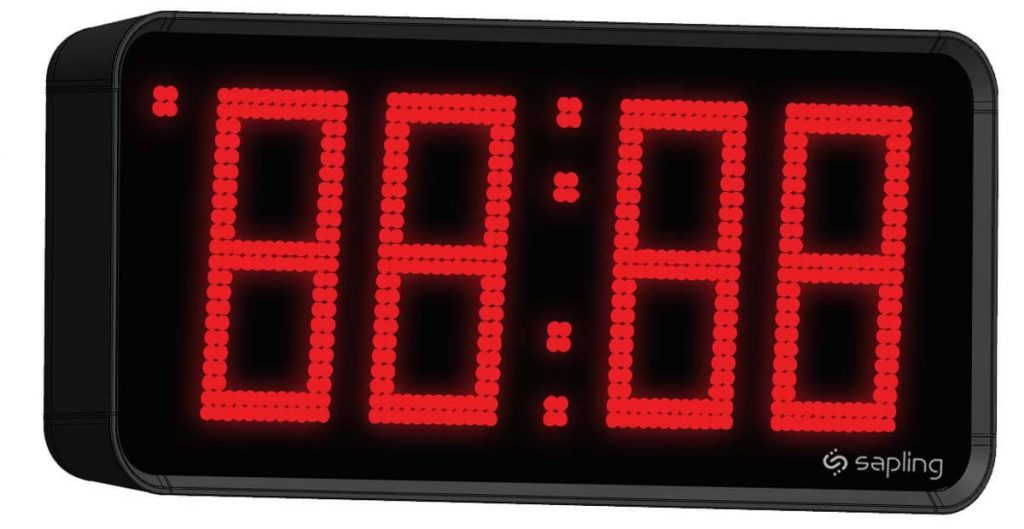 Sapling Large Digital Clock 4 Digits with a Red Display Angled View
