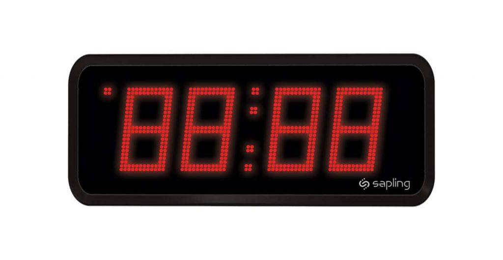 Sapling Large Digital Clock 4 Digits with a Red Display Front View