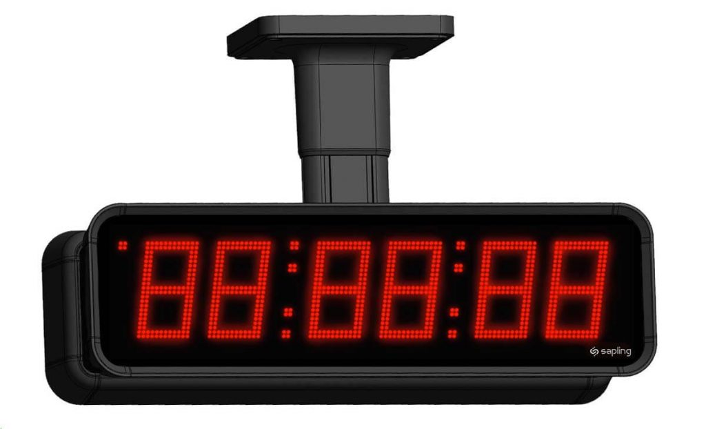 Sapling Large Digital Clock 6 Digits with a Red Display Double Mount