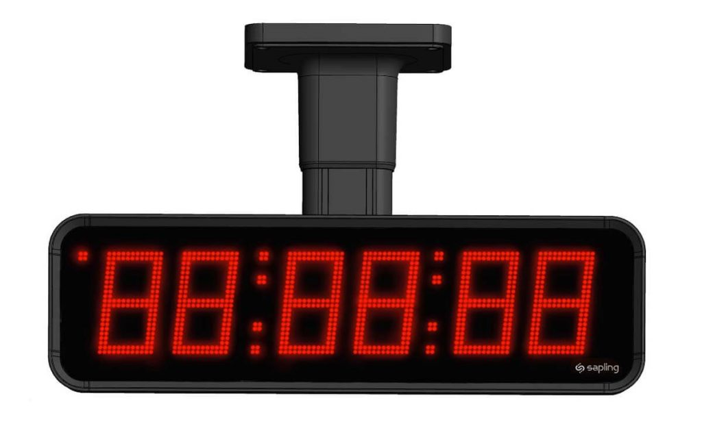 Sapling Large Digital Clock 6 Digits with a Red Display Flag Mount