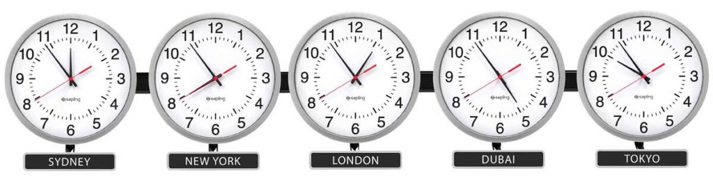Sapling Round Analog Zone Clock Brushed Aluminum Dial Standard Hands