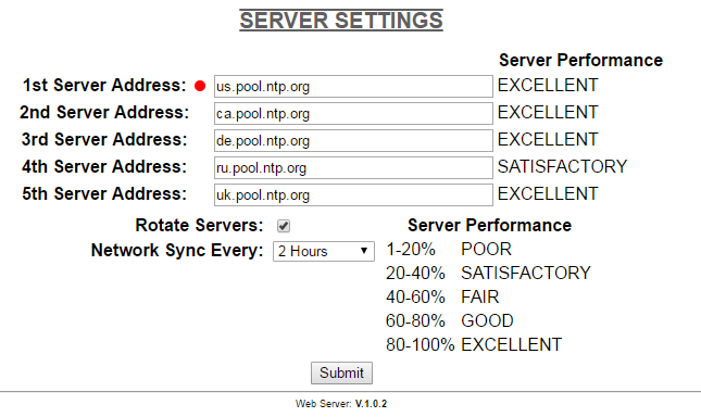 NTP servers synch setting