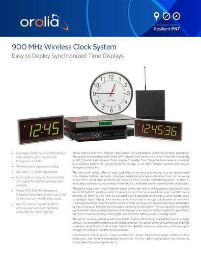 900 MHz Wireless Clock System