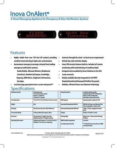 Novanex OnAlert EMNS Appliance Industrial Cut Sheet Oct 18